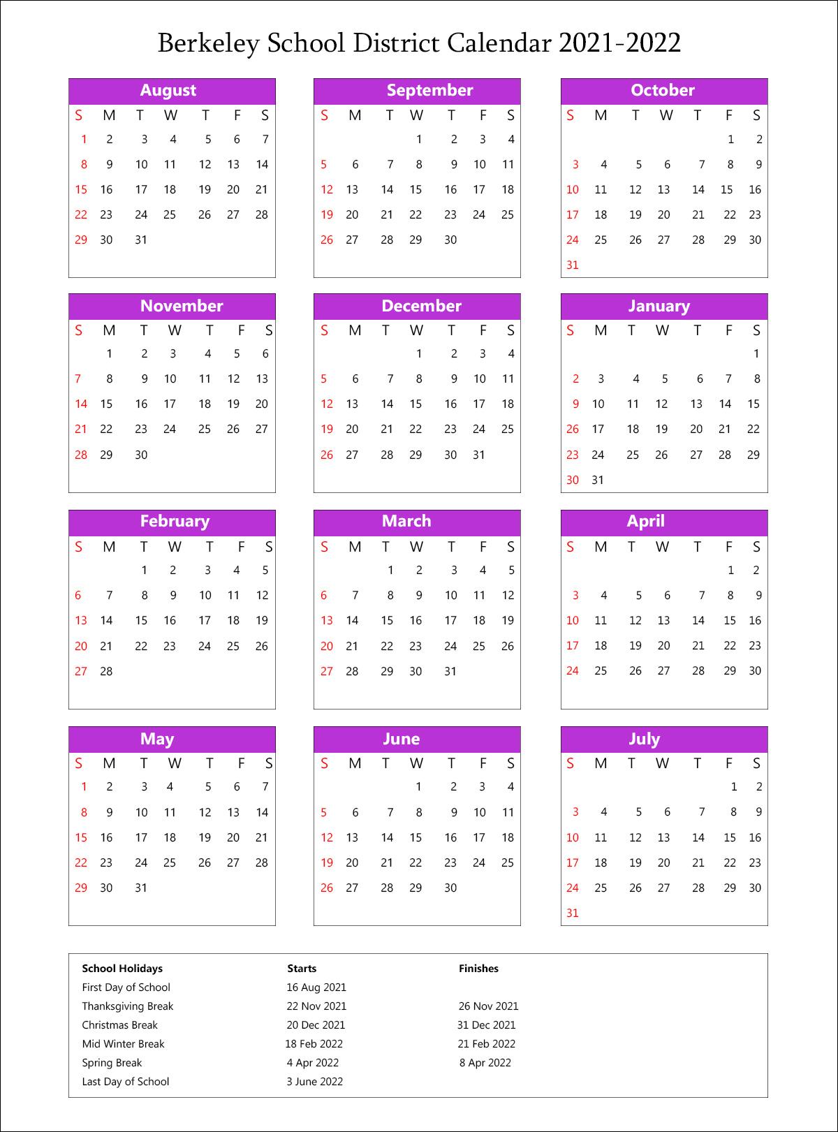 Berkeley Unified School District, California Calendar Holidays 2021