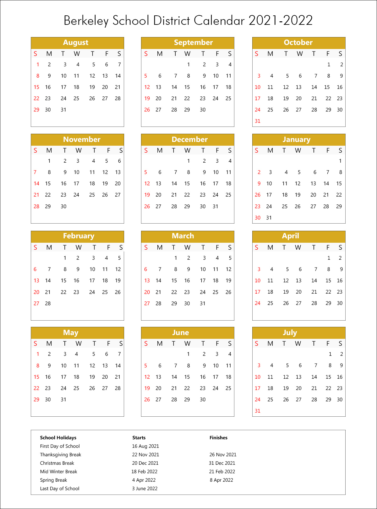 Berkeley Unified School District Calendar 2021