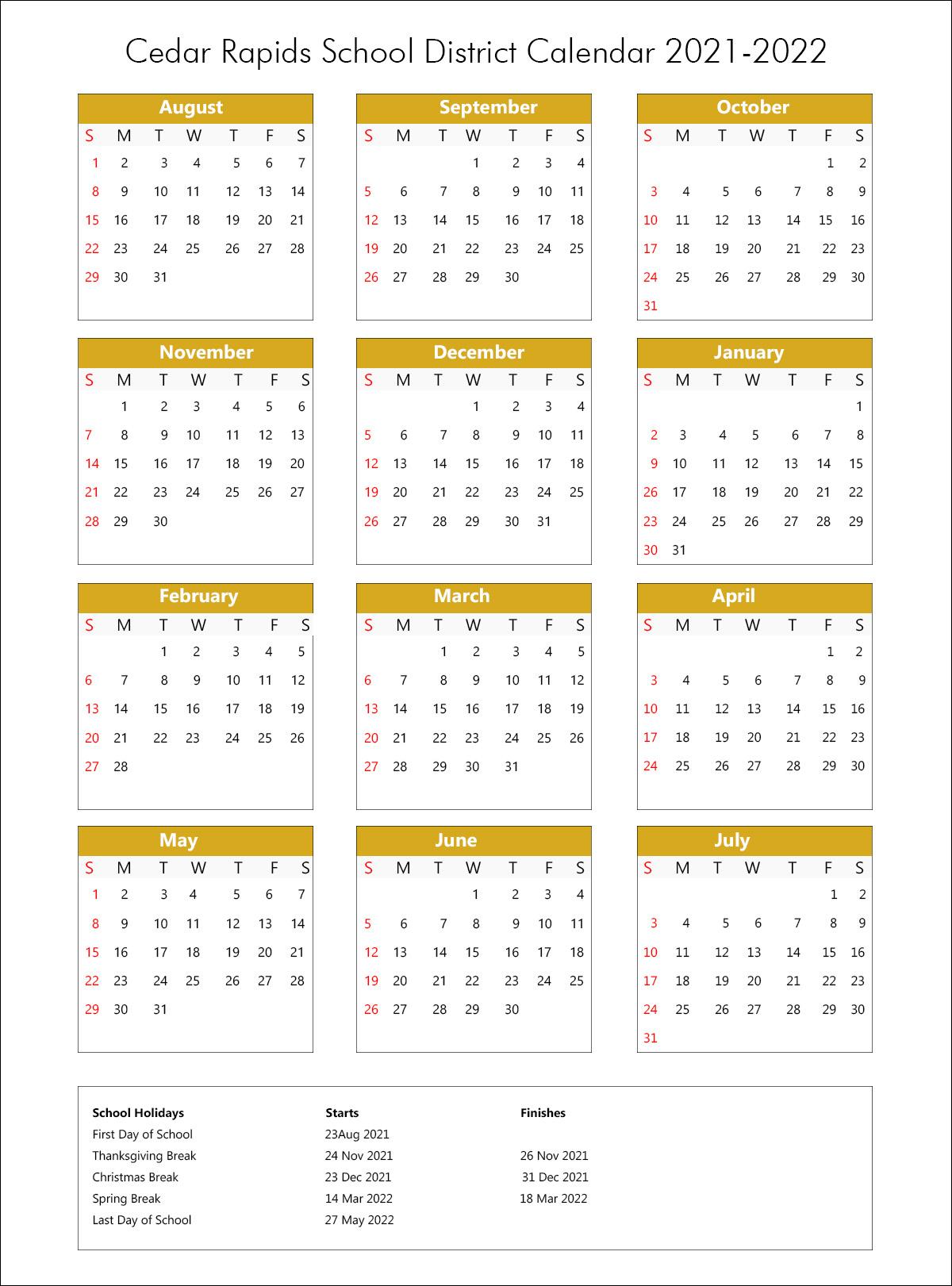 Tusd Calendar 2022.Cedar Rapids Community School District Calendar Holidays 2021 2022