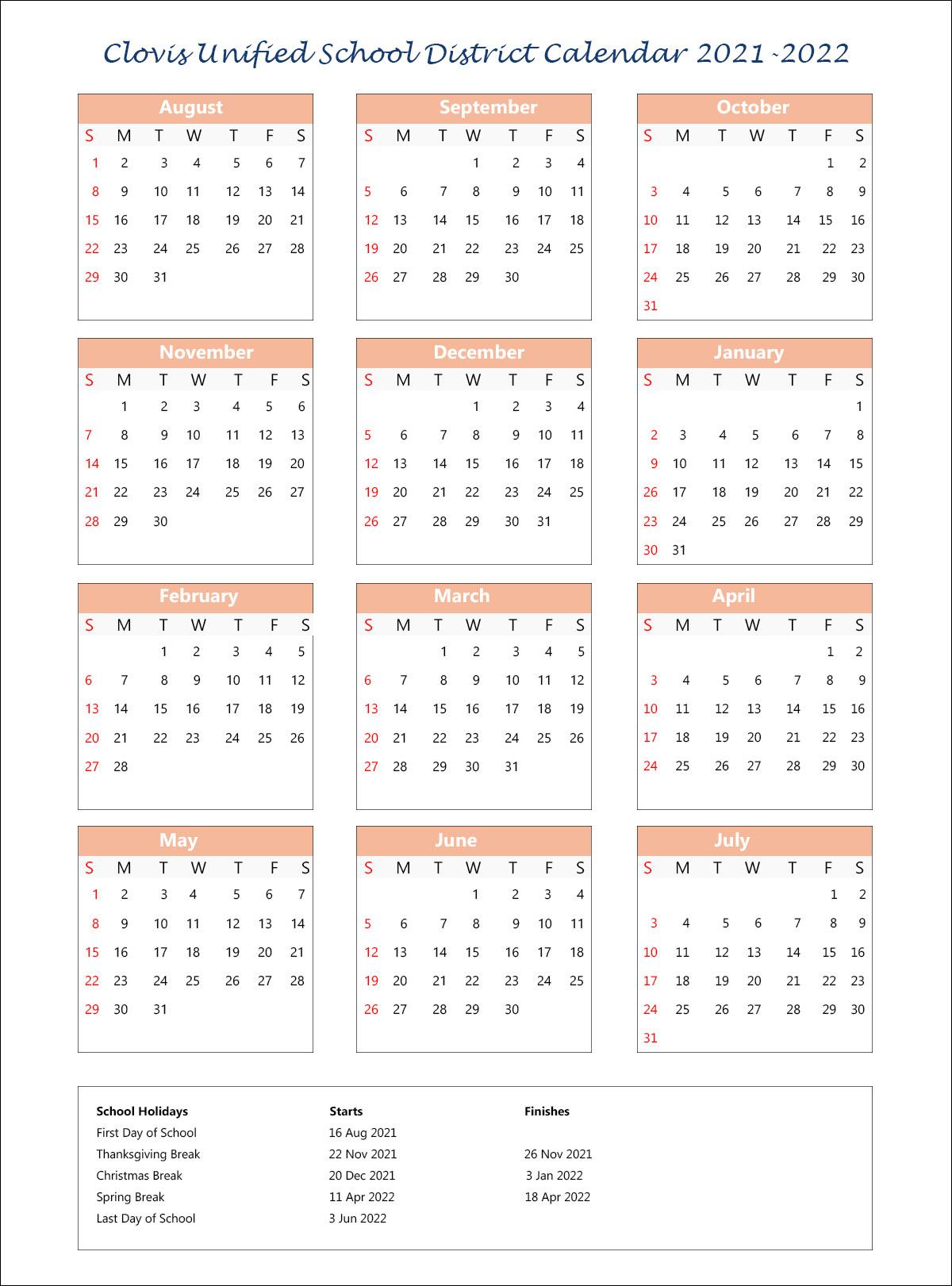 Cusd Calendar 2022.Clovis Unified School District Calendar Holidays 2021 2022