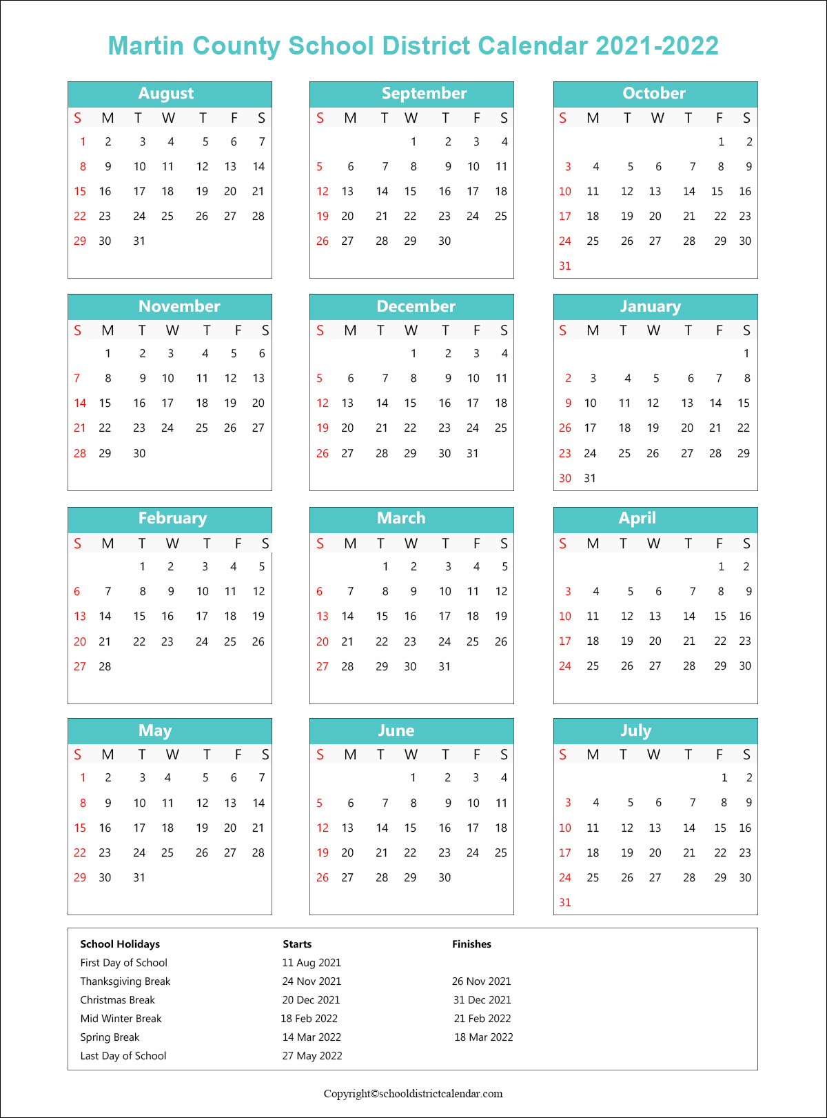 Martin County School District Calendar 2021