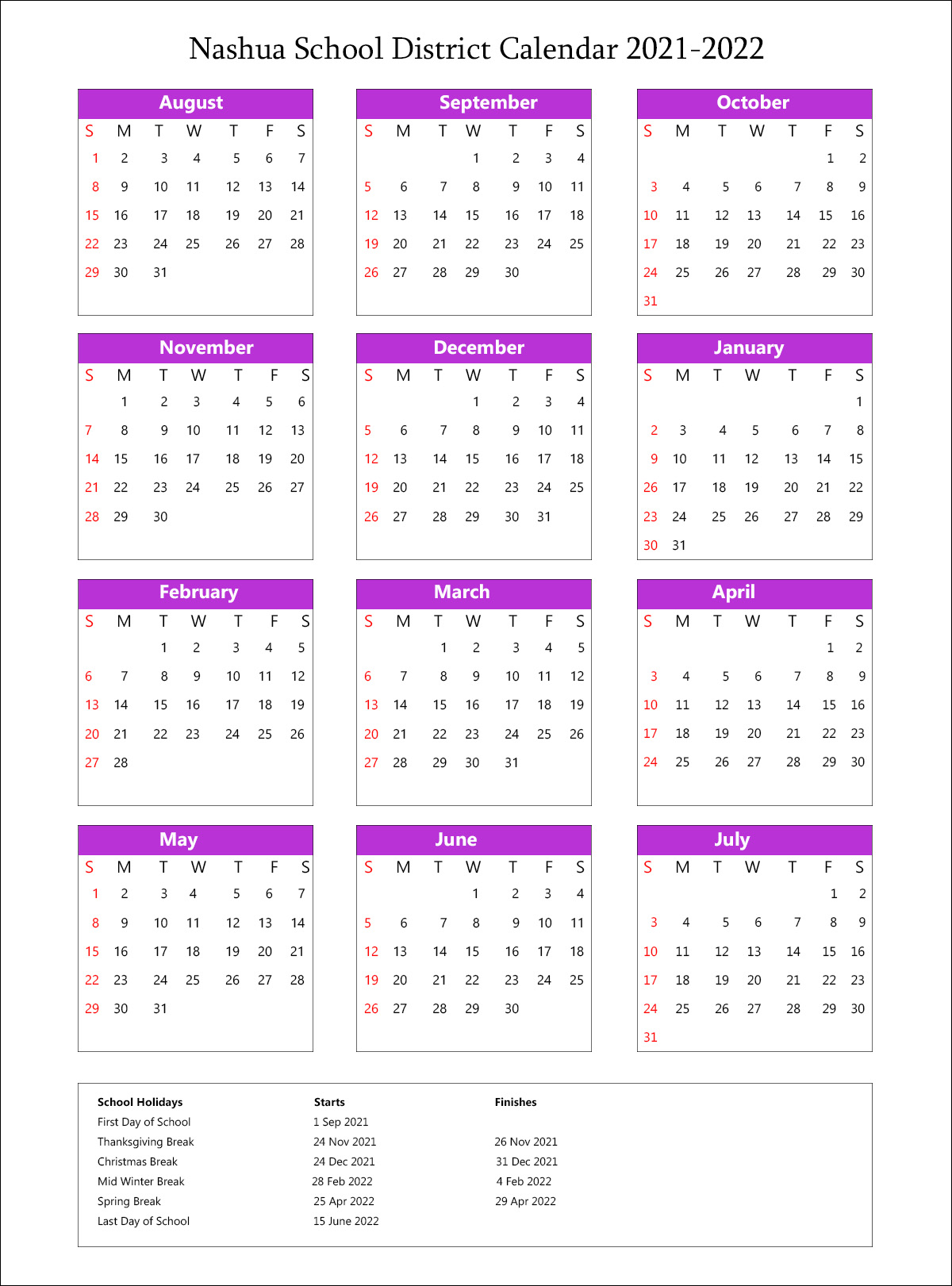 Scps Calendar 2022.Nashua School District Calendar Holidays 2021 2022