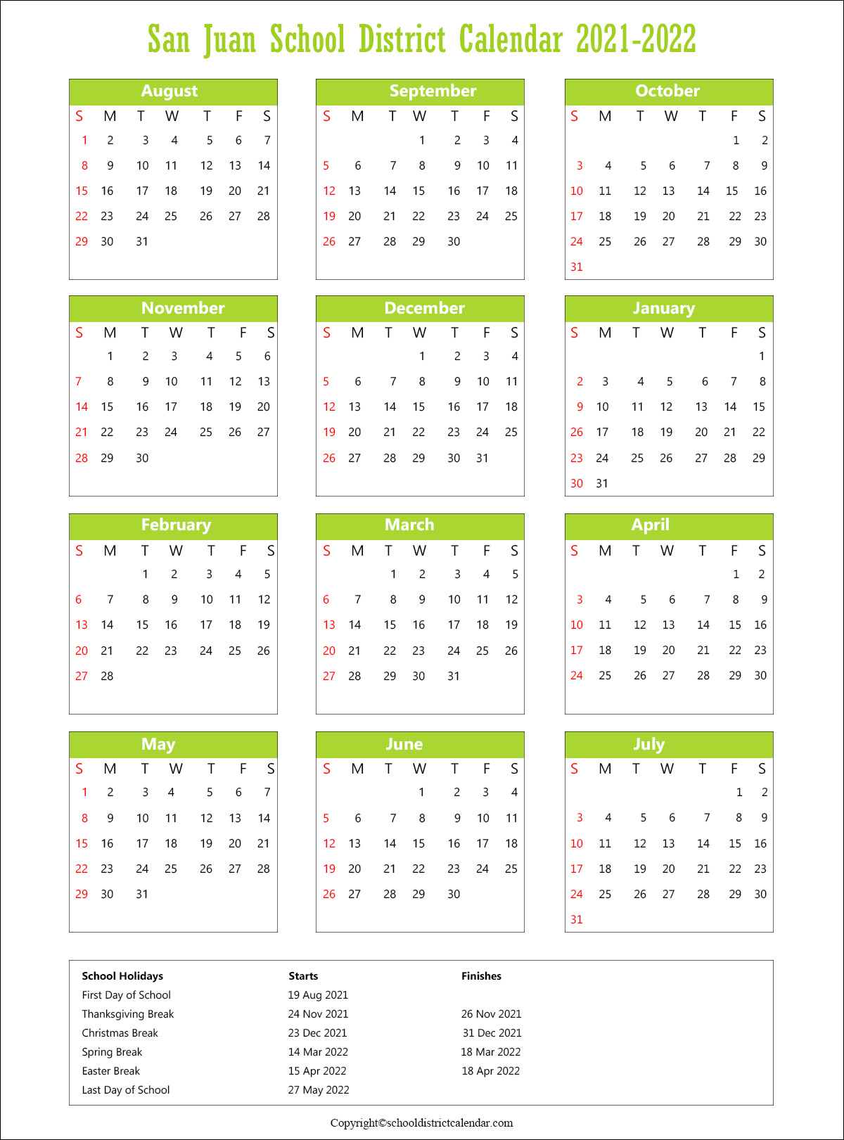 San Juan Unified School District, California Calendar Holidays 2021
