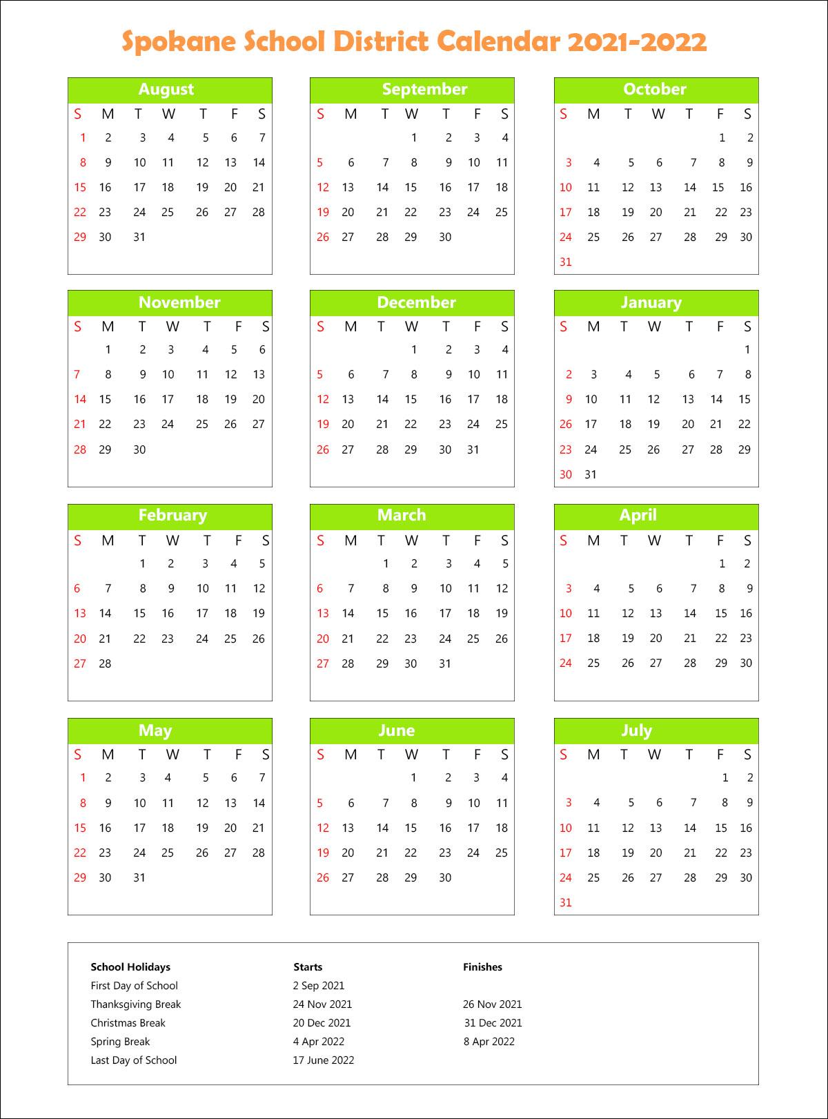 Spokane School District, Washington Calendar Holidays 2021