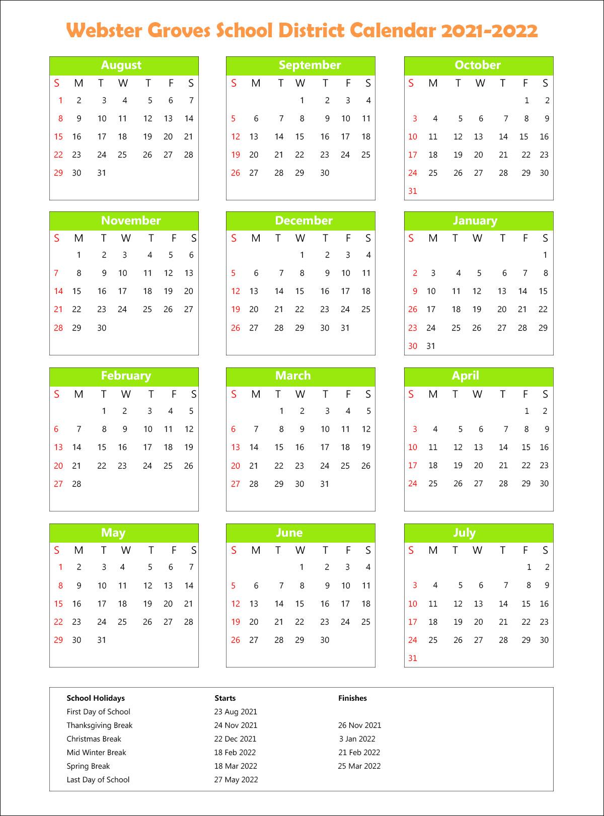 Webster Groves School District, Missouri Calendar Holidays 2021