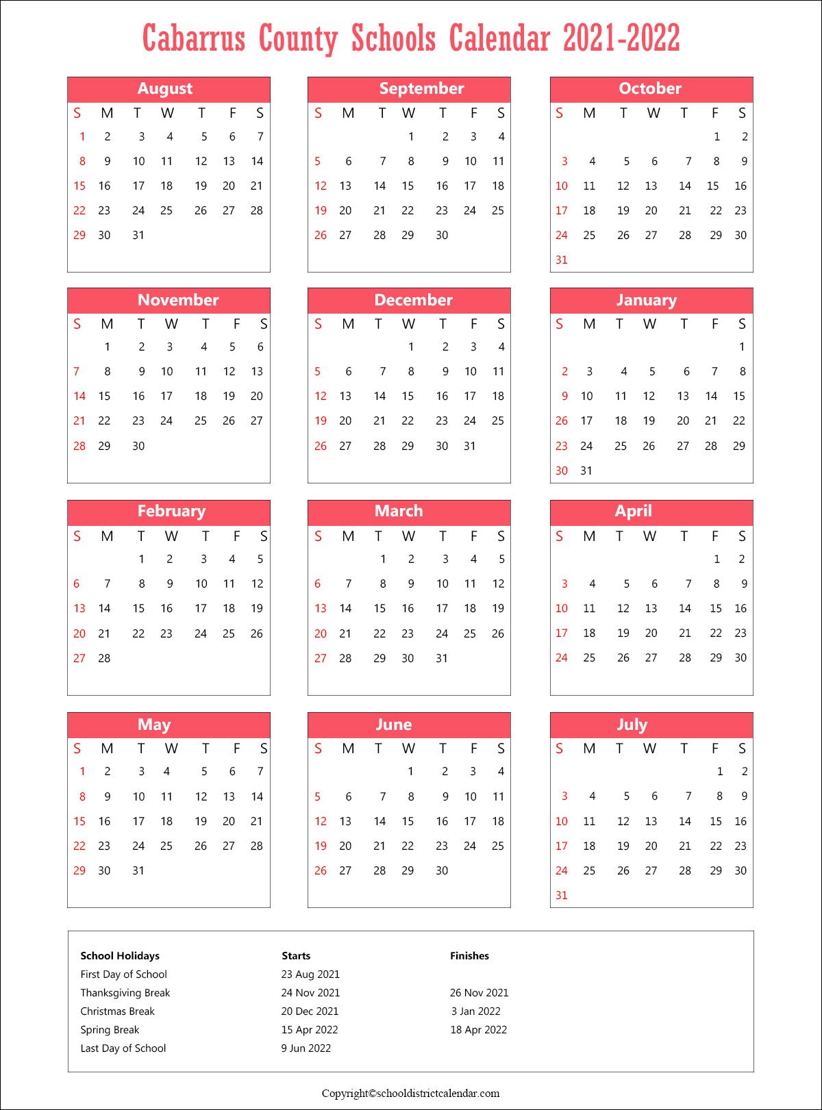Cabarrus County Schools District, North Carolina Calendar Holidays 2021.1