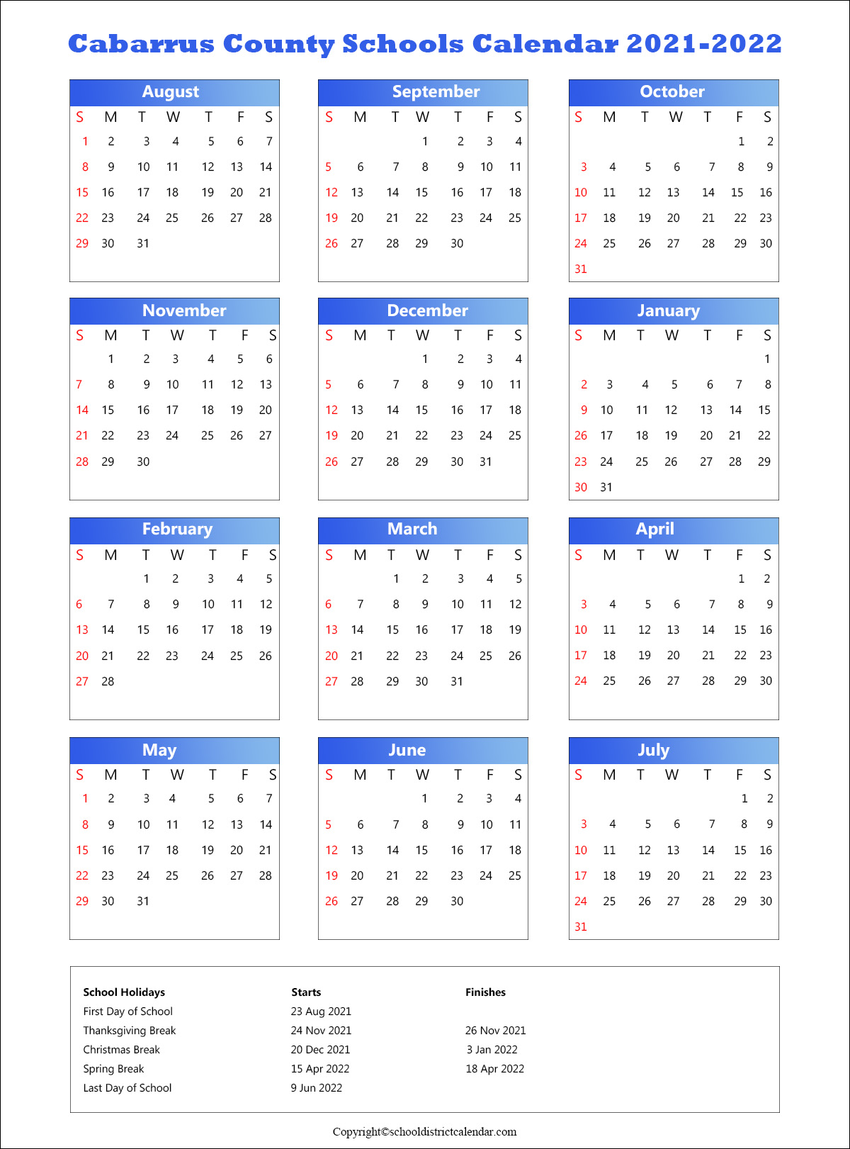 Cabarrus County Schools District Calendar 2021.1