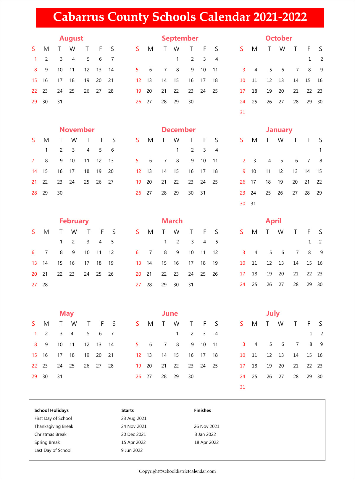 Cabarrus County Schools District Calendar 2021
