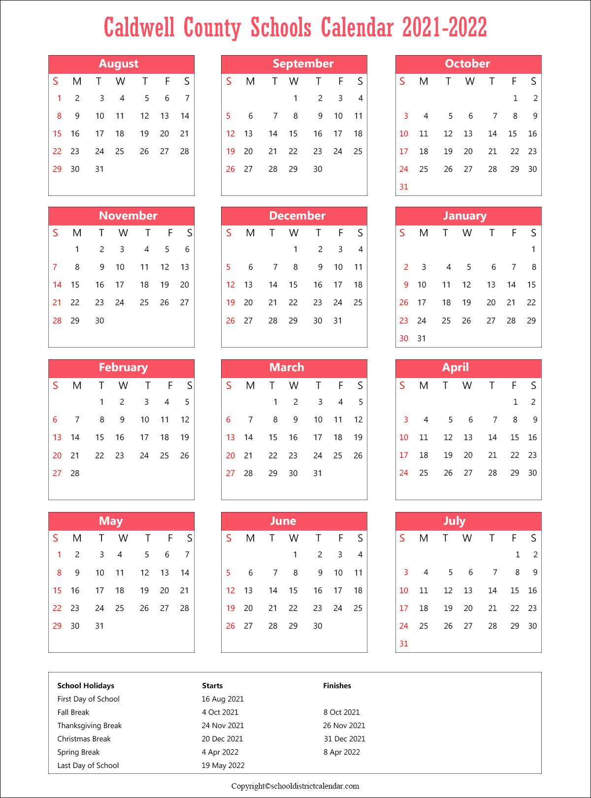 Caldwell County Schools Calendar, North Carolina Holidays 2021