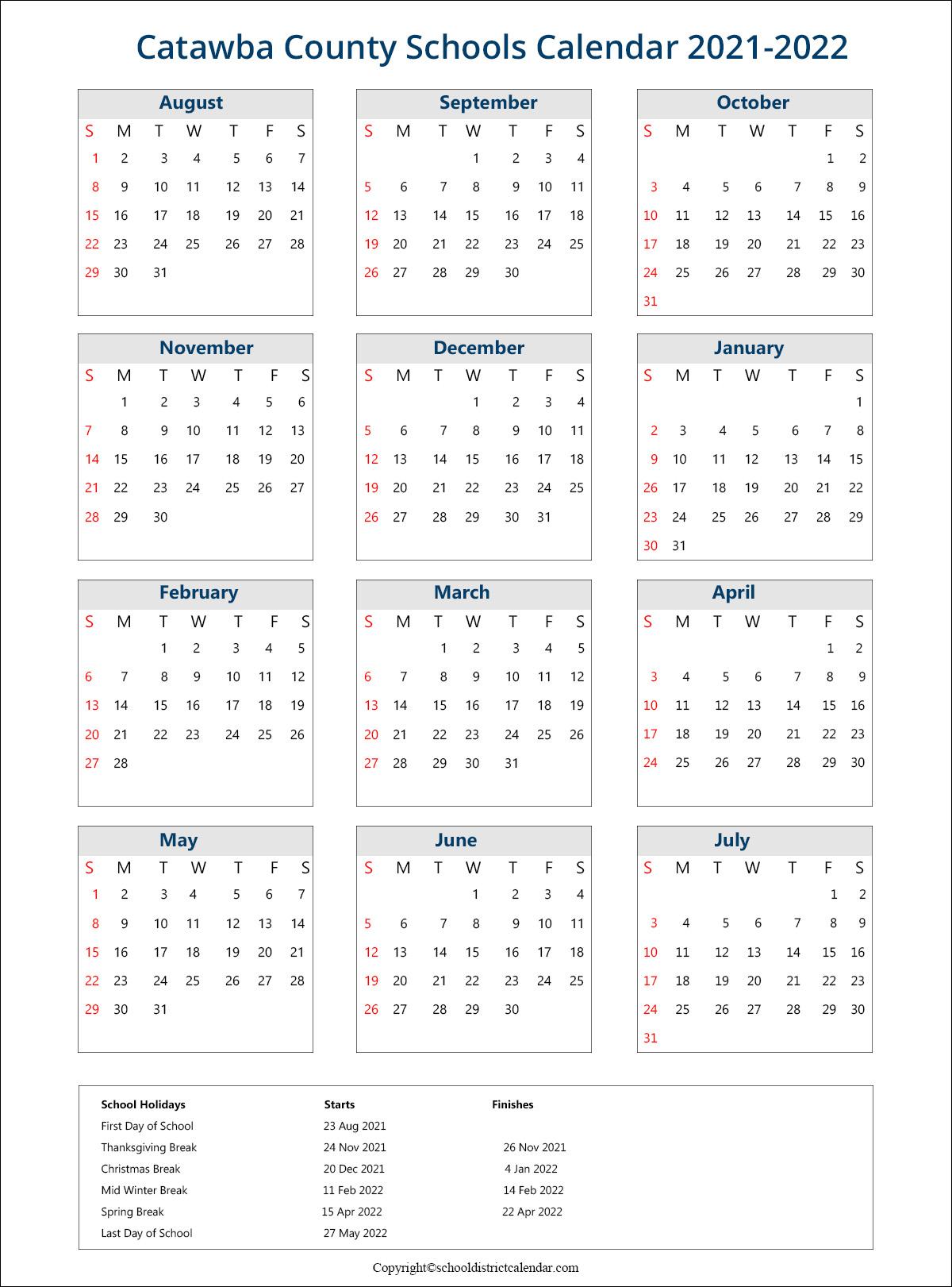 Catawba County Schools District, Newton Calendar Holidays 2021