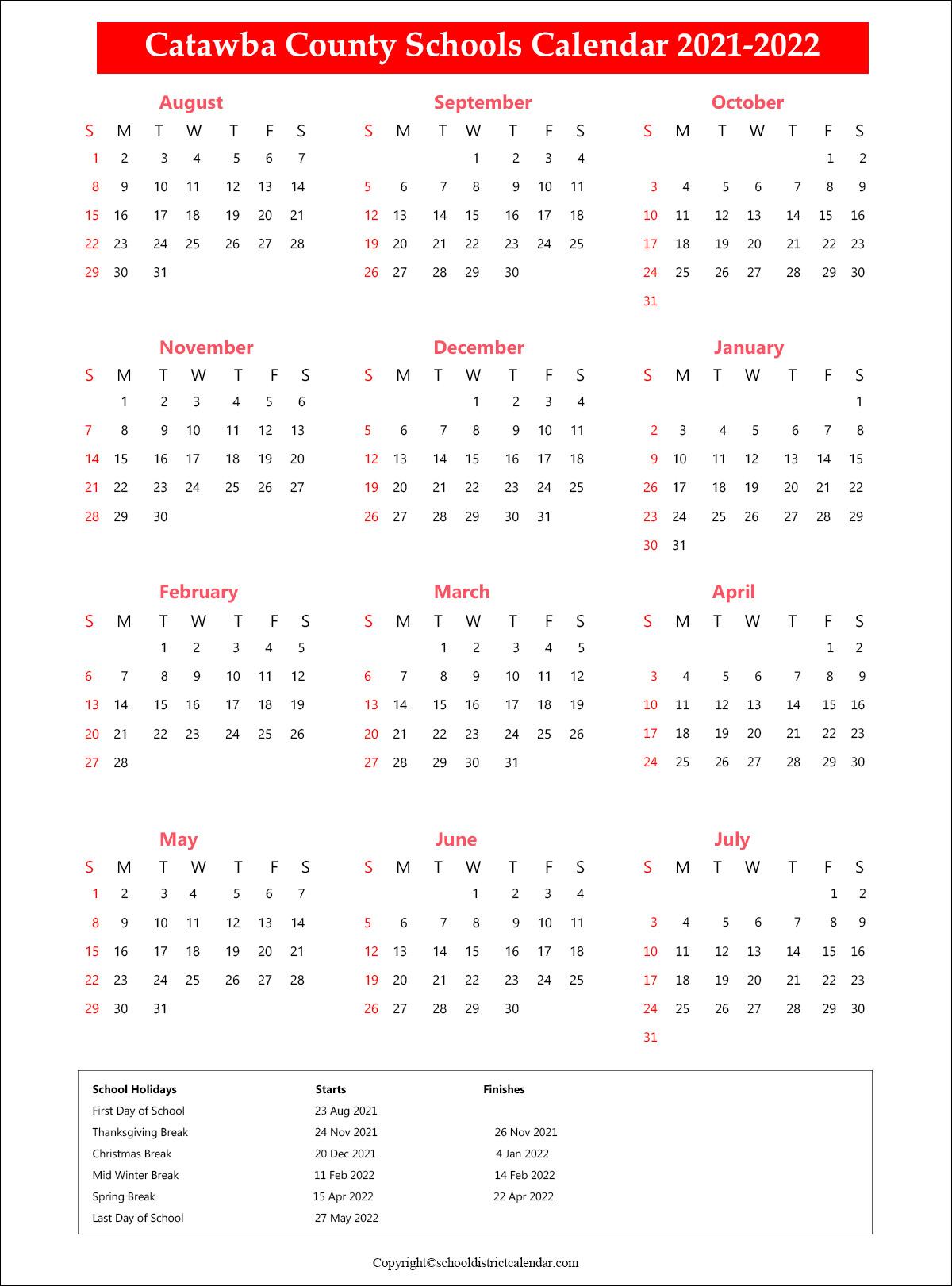 Catawba County Schools District Calendar 2021