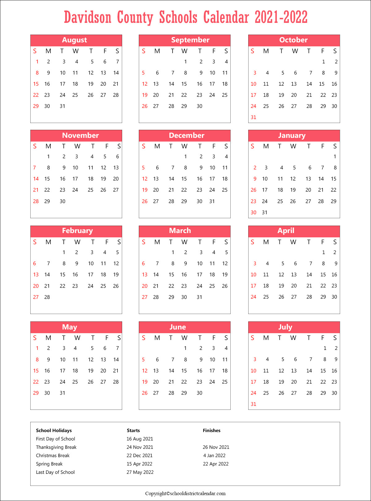 Davidson County Schools District, North Carolina Calendar Holidays 2021