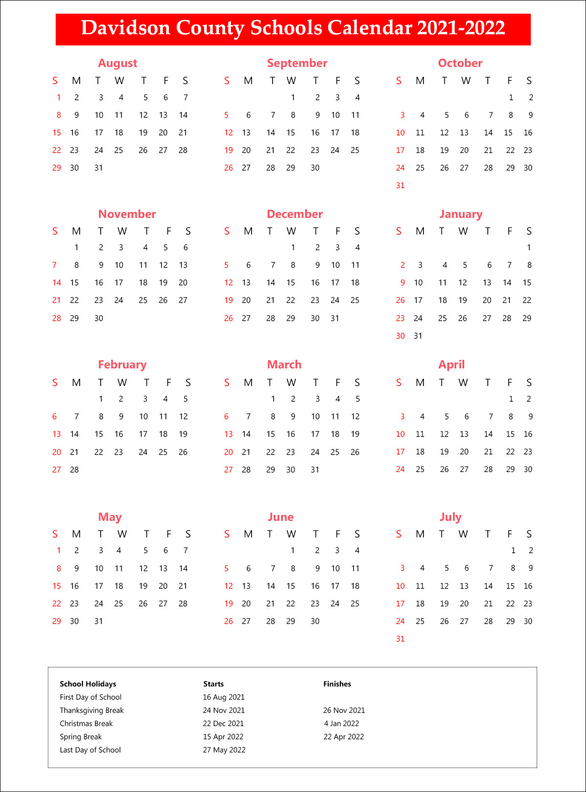 Davidson County Schools District Calendar 2021