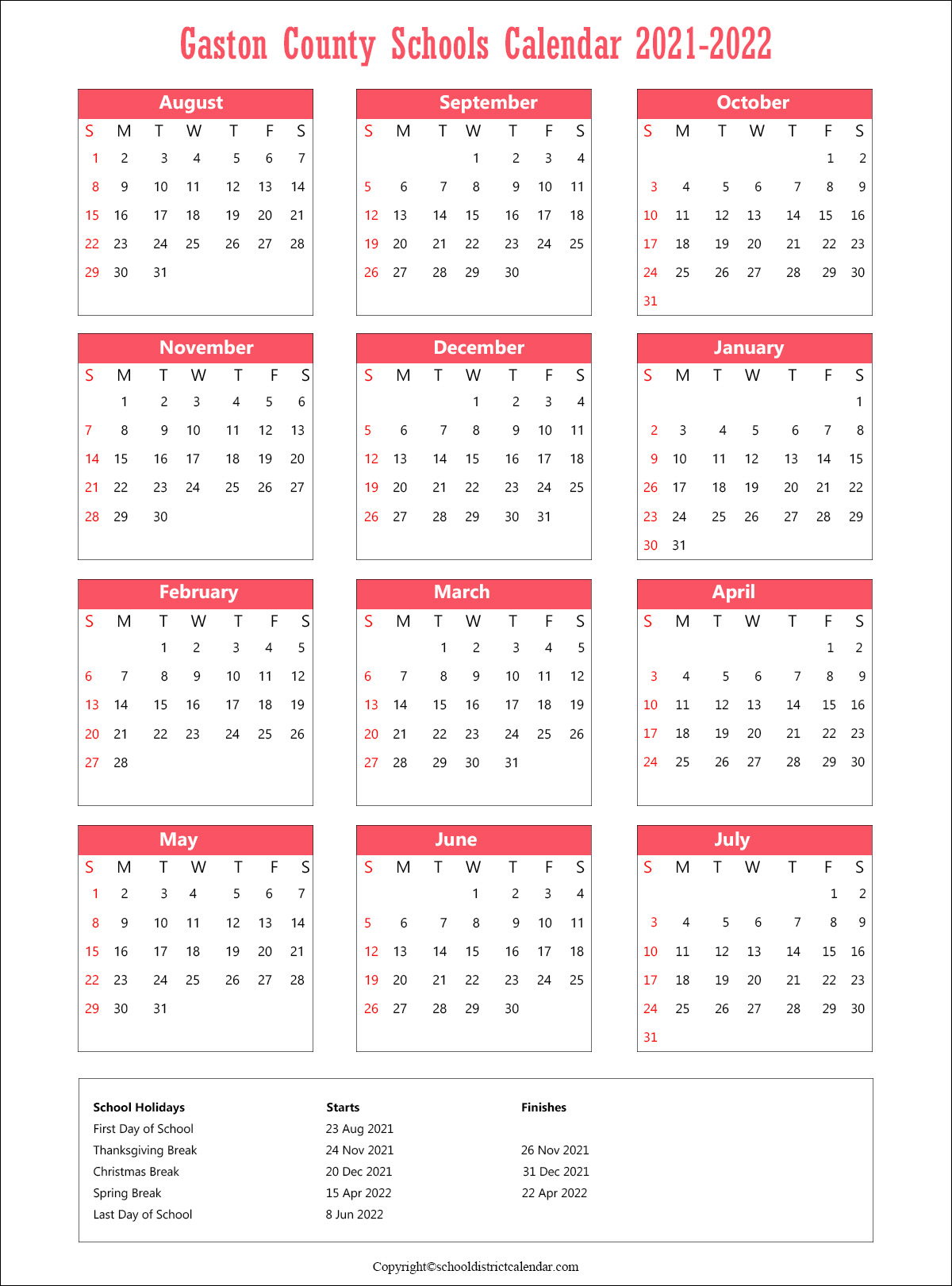 Gaston County Schools District, North Carolina Calendar Holidays 2021