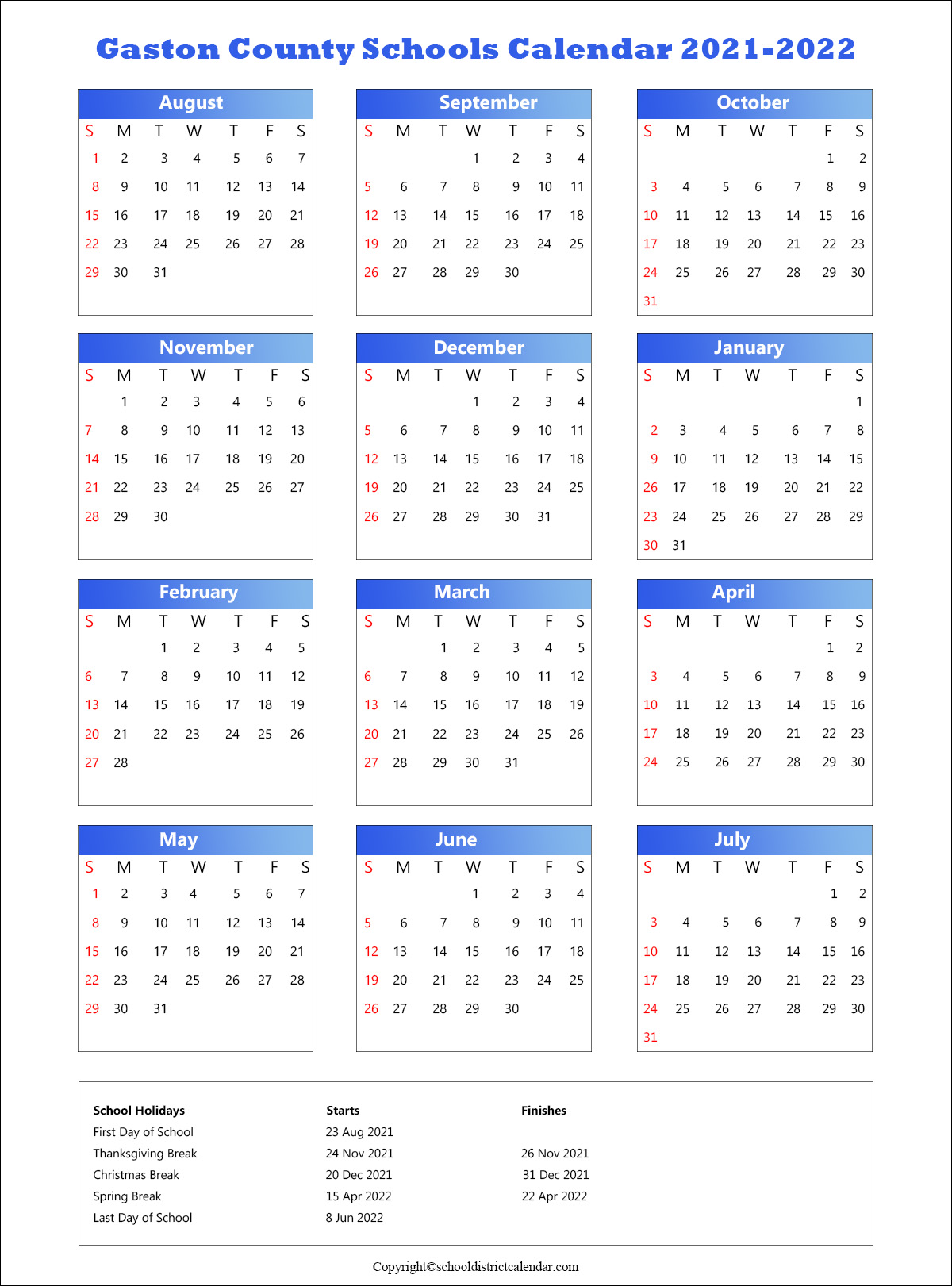 Gaston County Schools District Calendar 2021