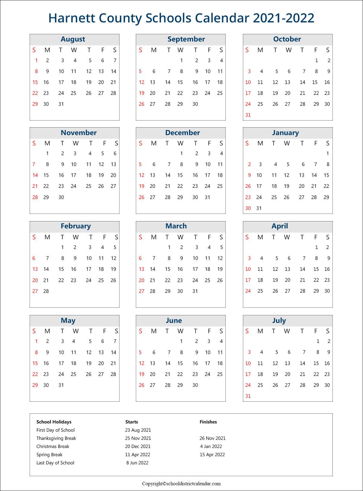 Harnett County Schools Calendar, Lillington Holidays 2021