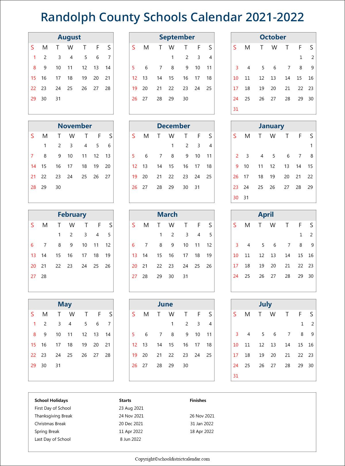Randolph County Schools Calendar 2021