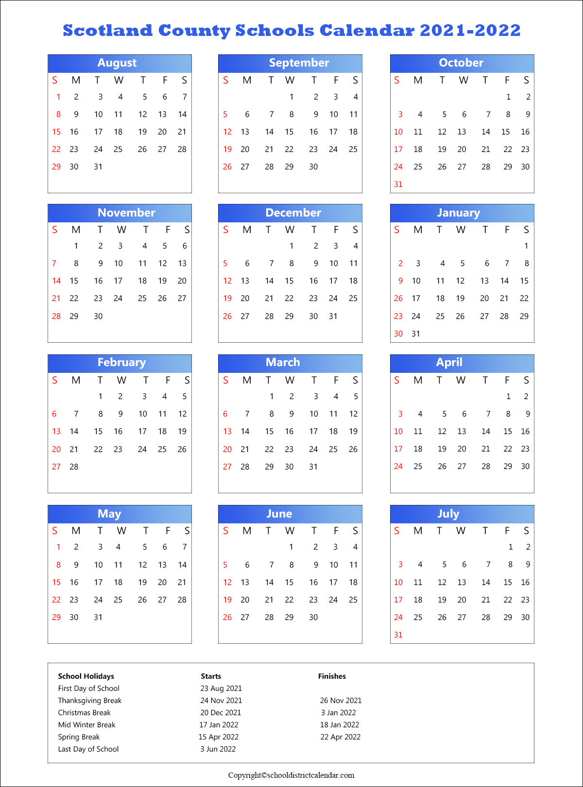 Scotland County Schools Calendar, Laurinburg Holidays 2021