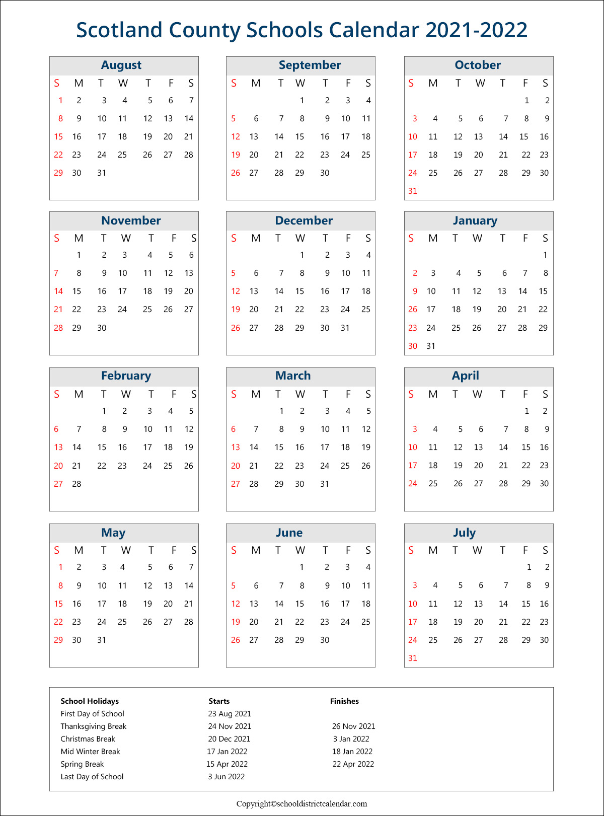 Scotland County Schools Calendar 2021