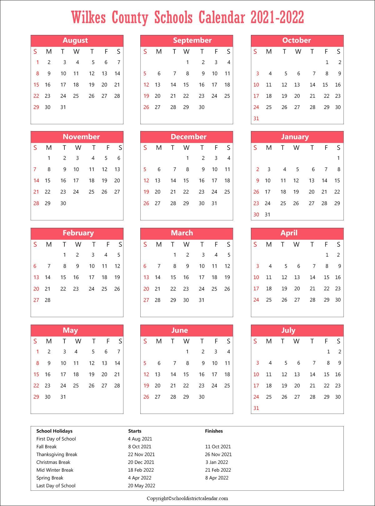 Wilkes County Schools Calendar, North CarolinaHolidays 2021