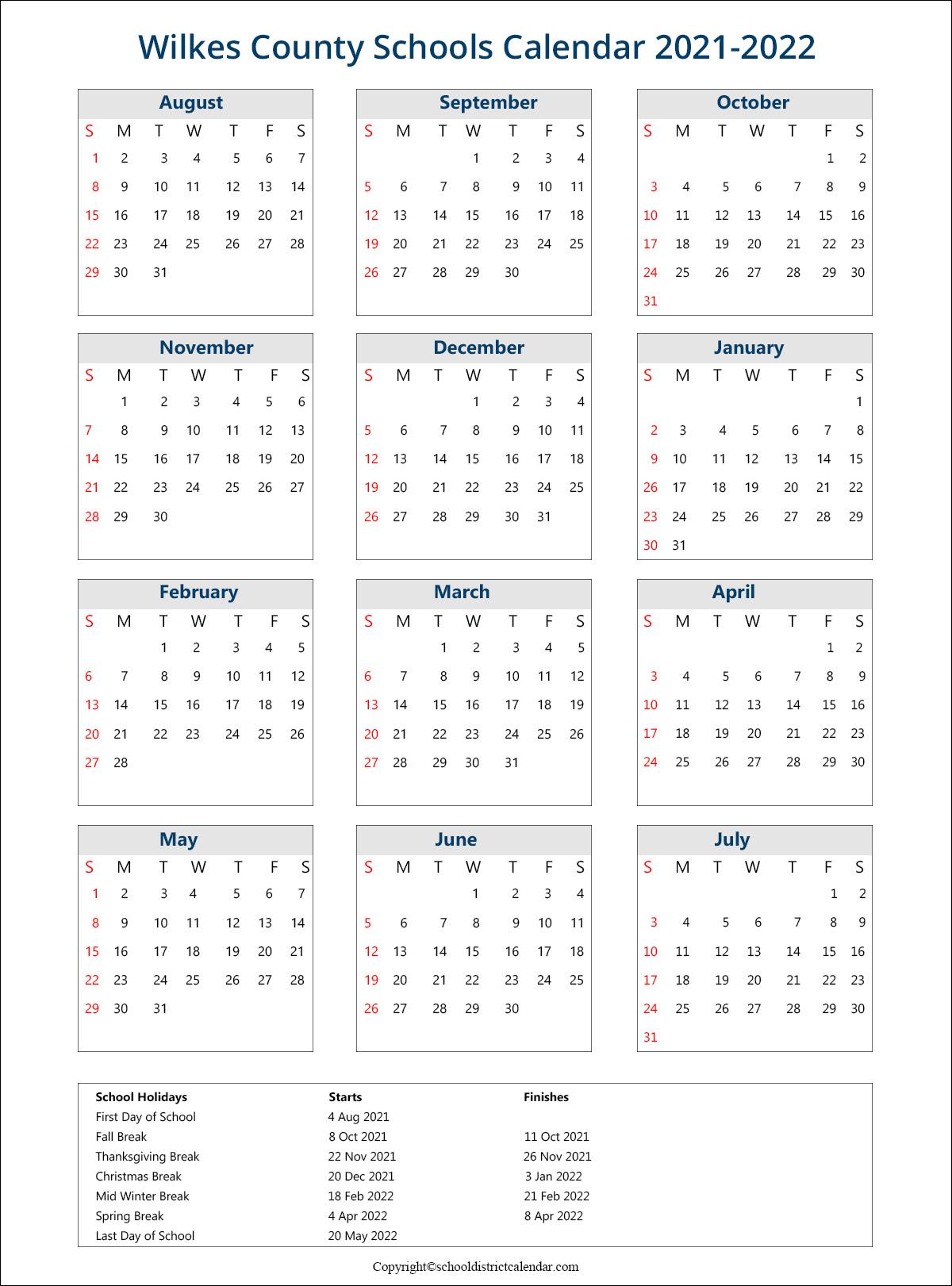 Wilkes County Schools Calendar 2021